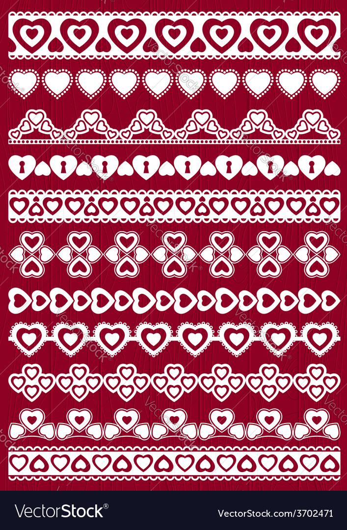 Set of lace paper with heart vector