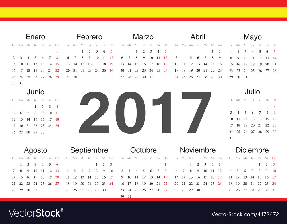 Circle spanish 2017 year calendar vector