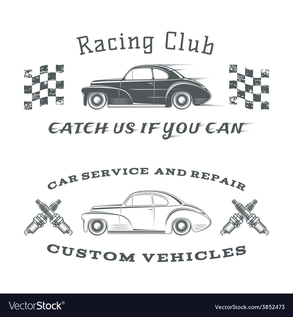 Set of two vintage classic car labels racing vector