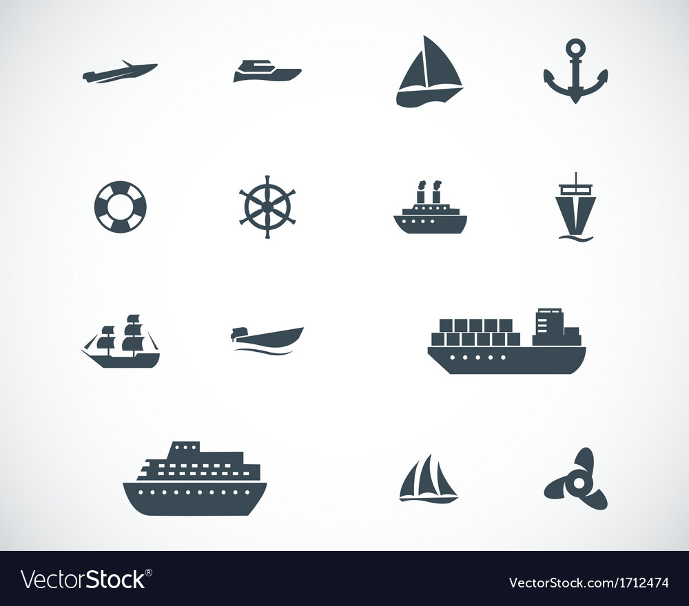 Black ship and boat icons set vector