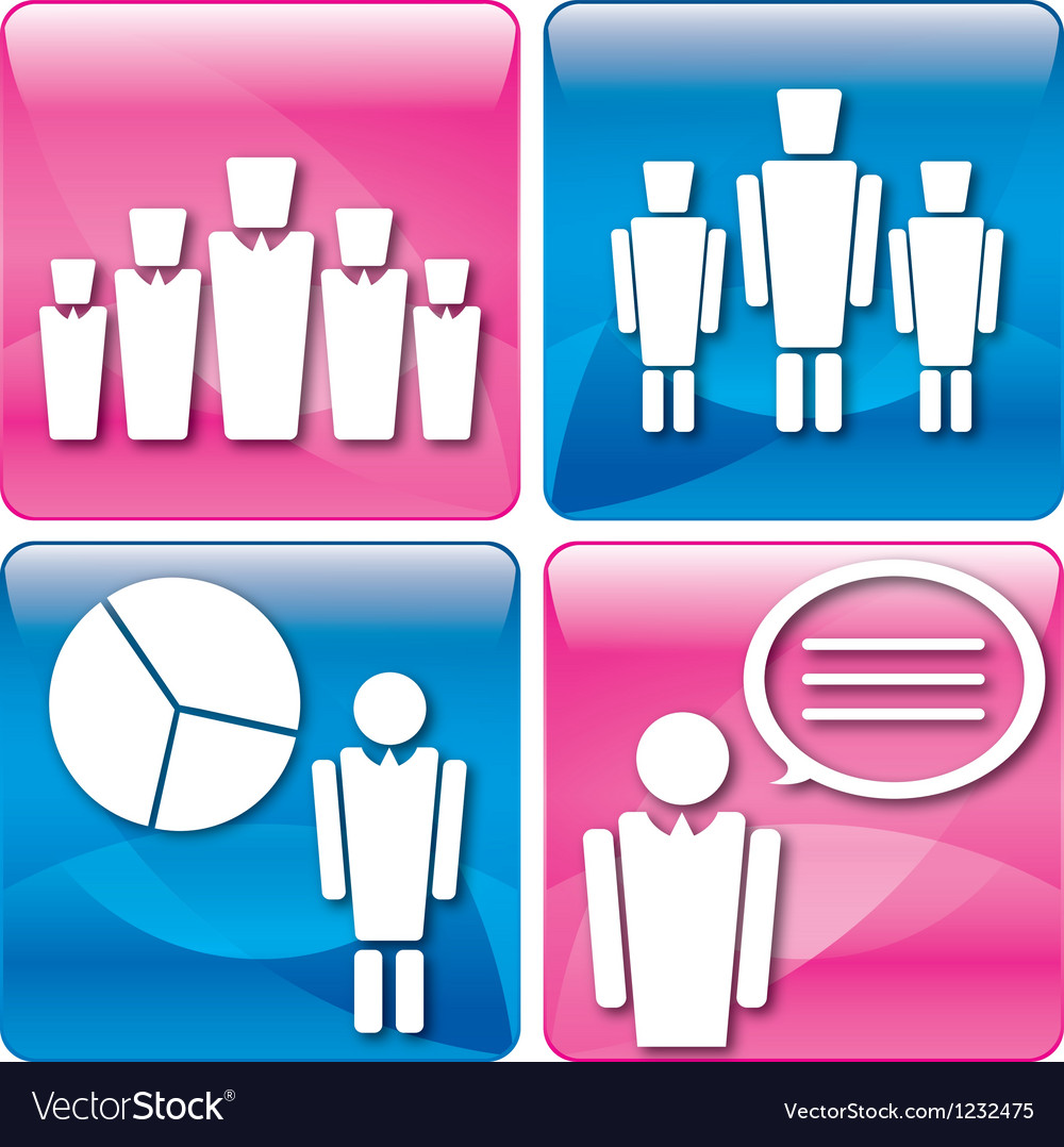 Business people at work icons set vector