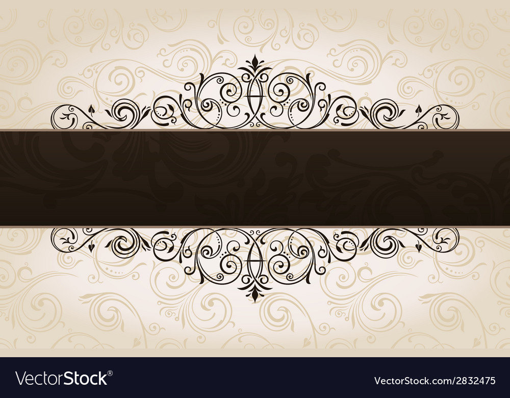 Calligraphic brown banner with decorative vector