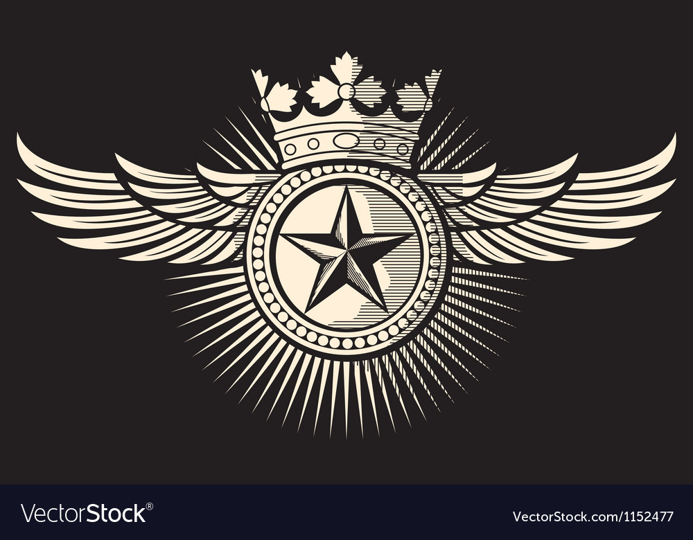 Star with wings and crown tattoo vector
