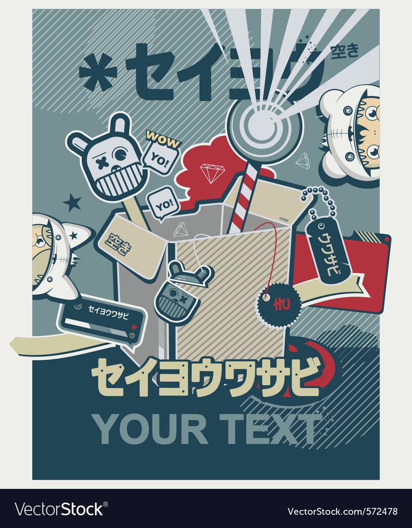 Japanese anime graffiti poster vector
