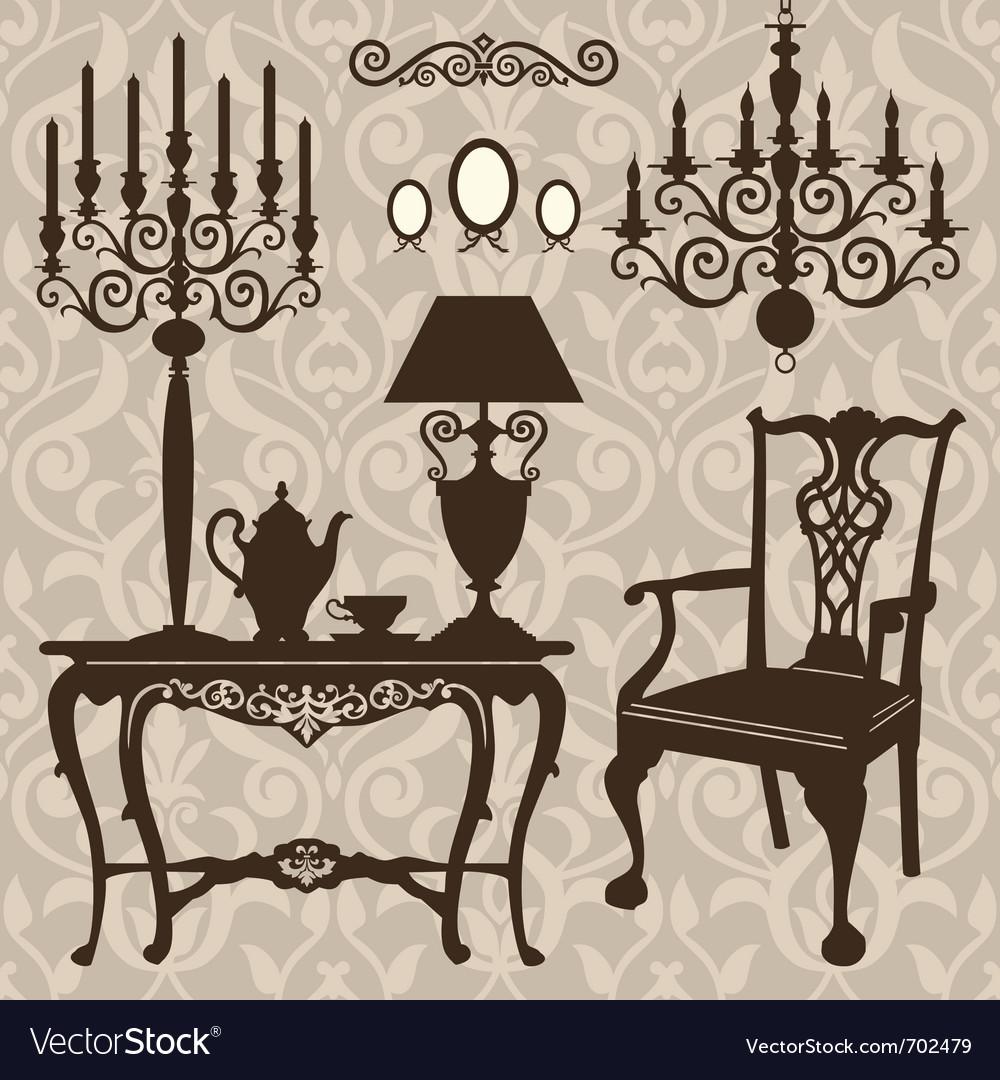 Set of antique furniture vector