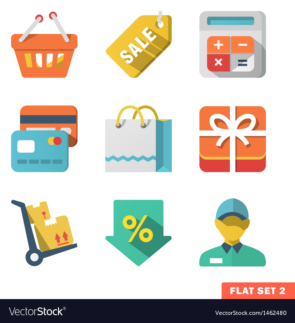 Shopping icon set for web and mobile application vector