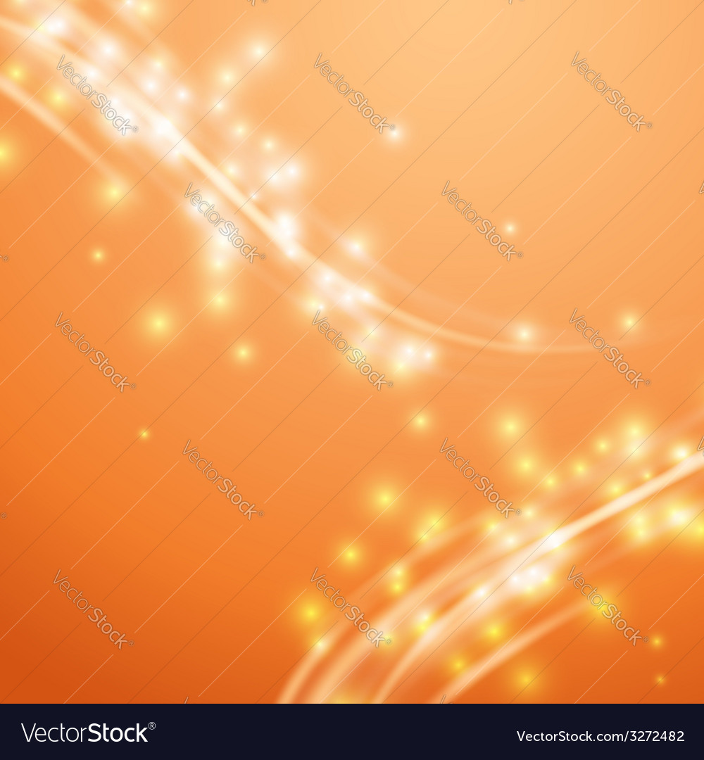 Bright orange swoosh speed glow smooth lines vector
