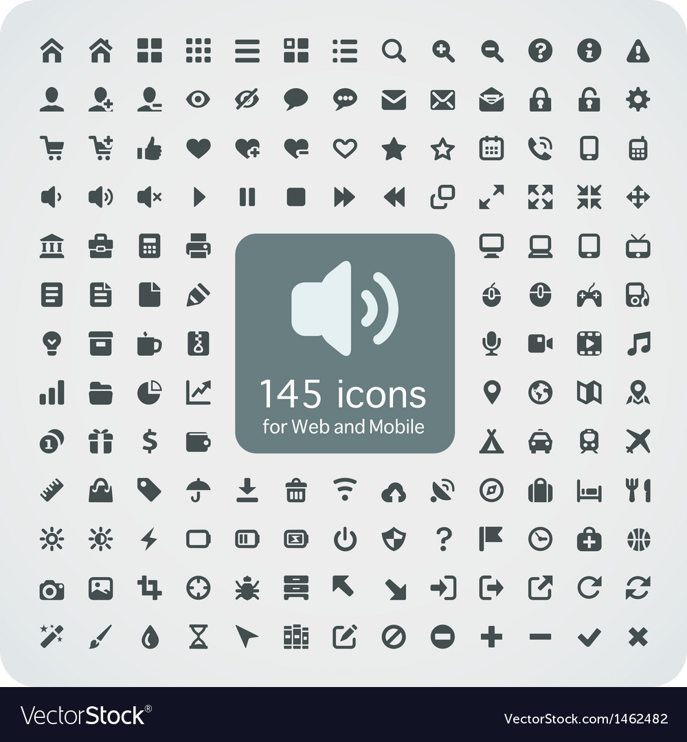 Set of 145 quality icons for web and mobile vector