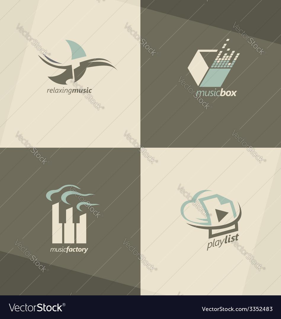 Musical logo design concepts vector