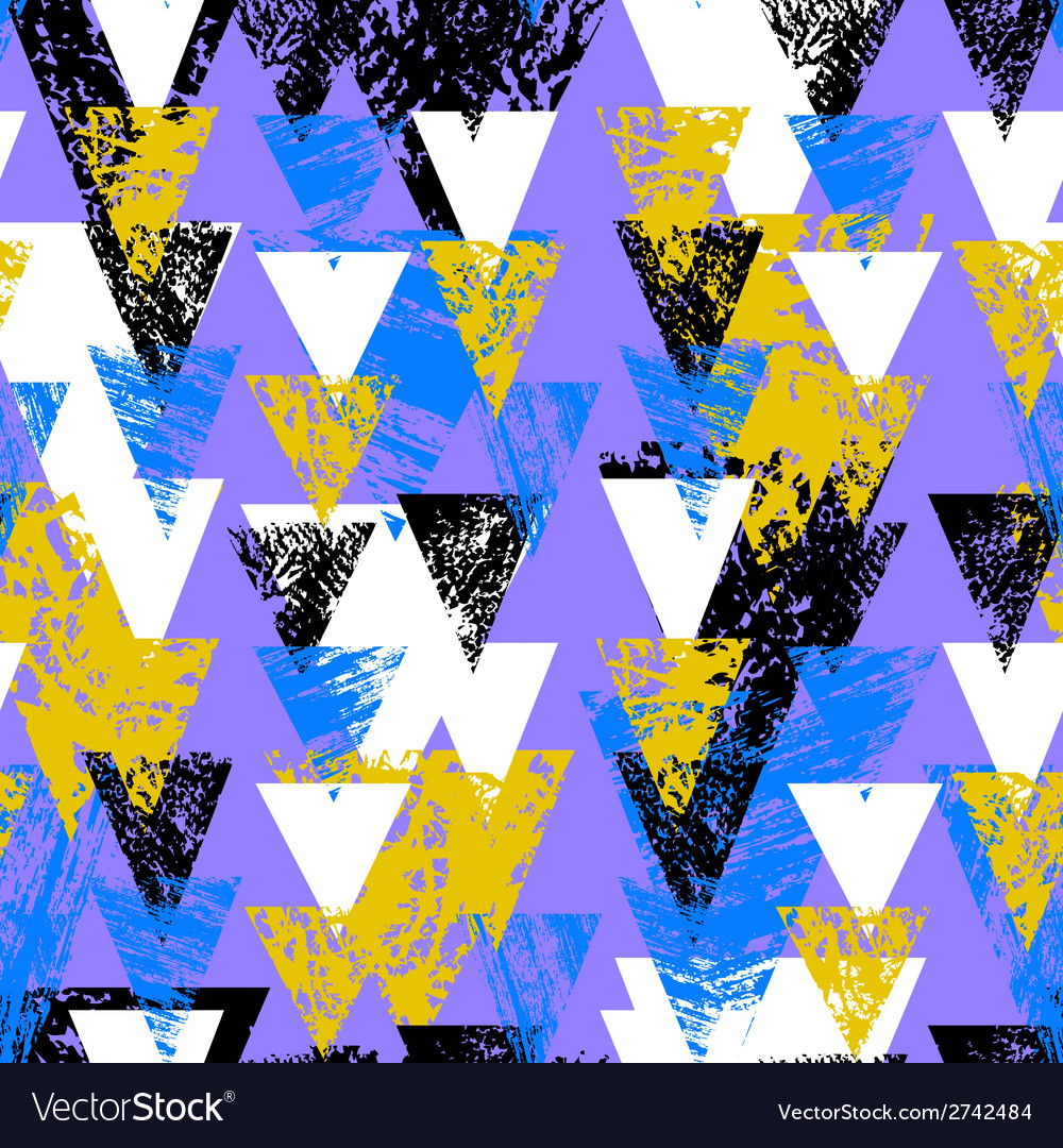 Hand painted bold pattern with triangles vector