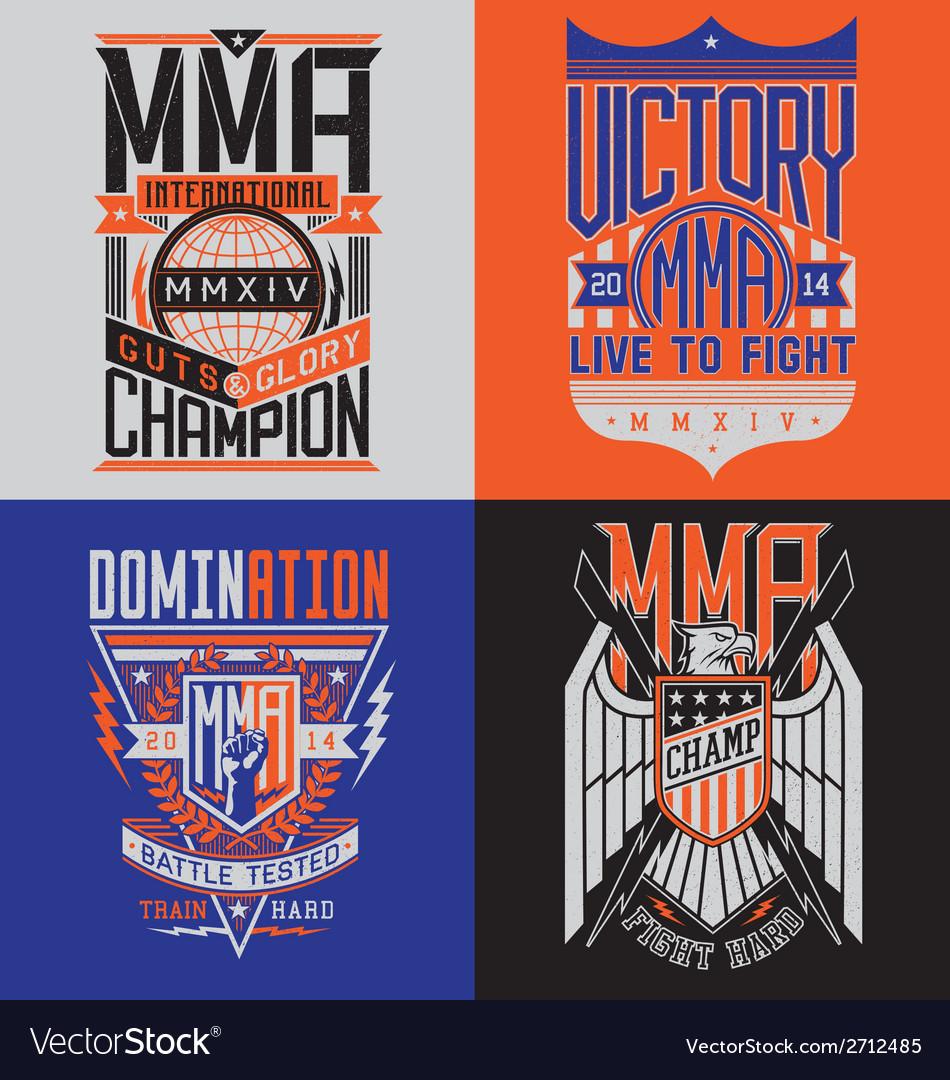 Mma t-shirt design emblem set vector