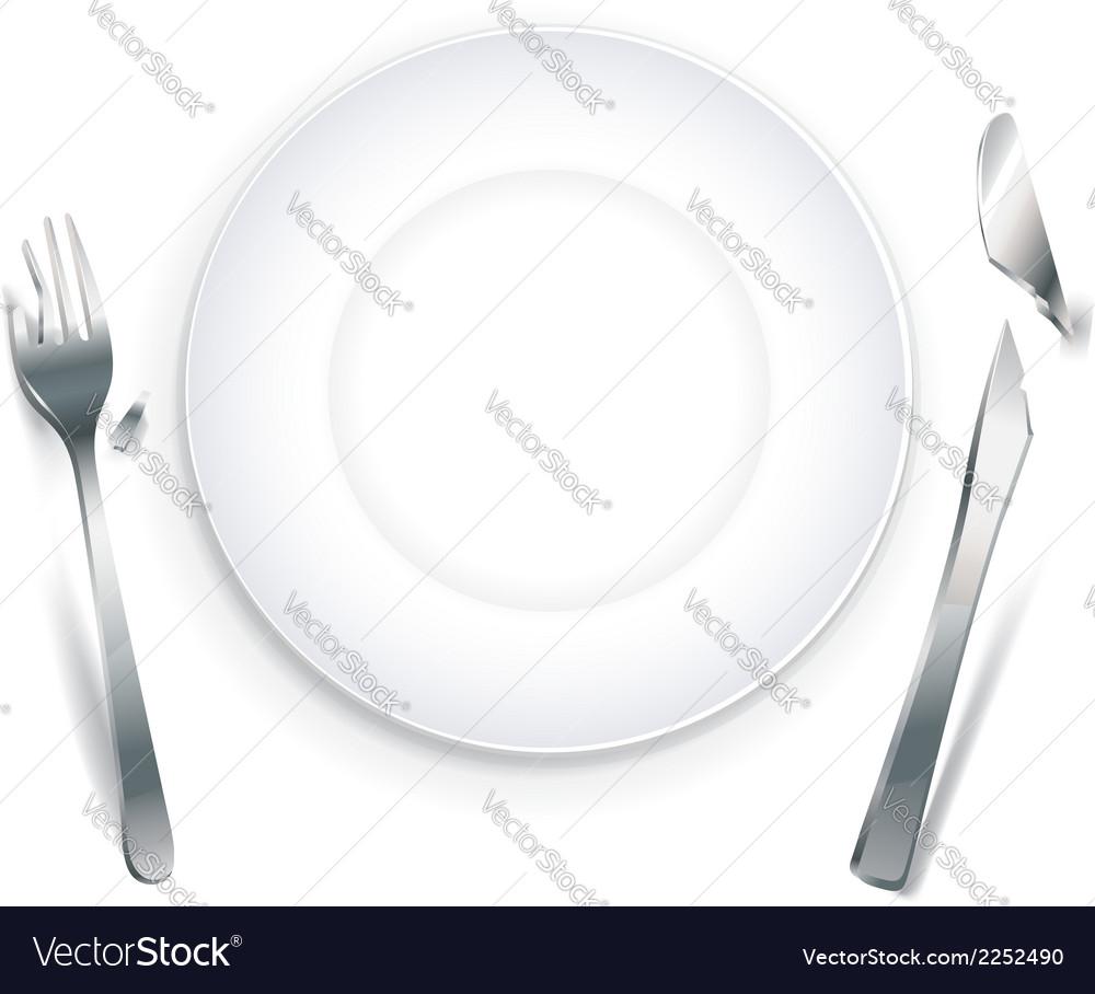 Empty plate with broken cutlery vector