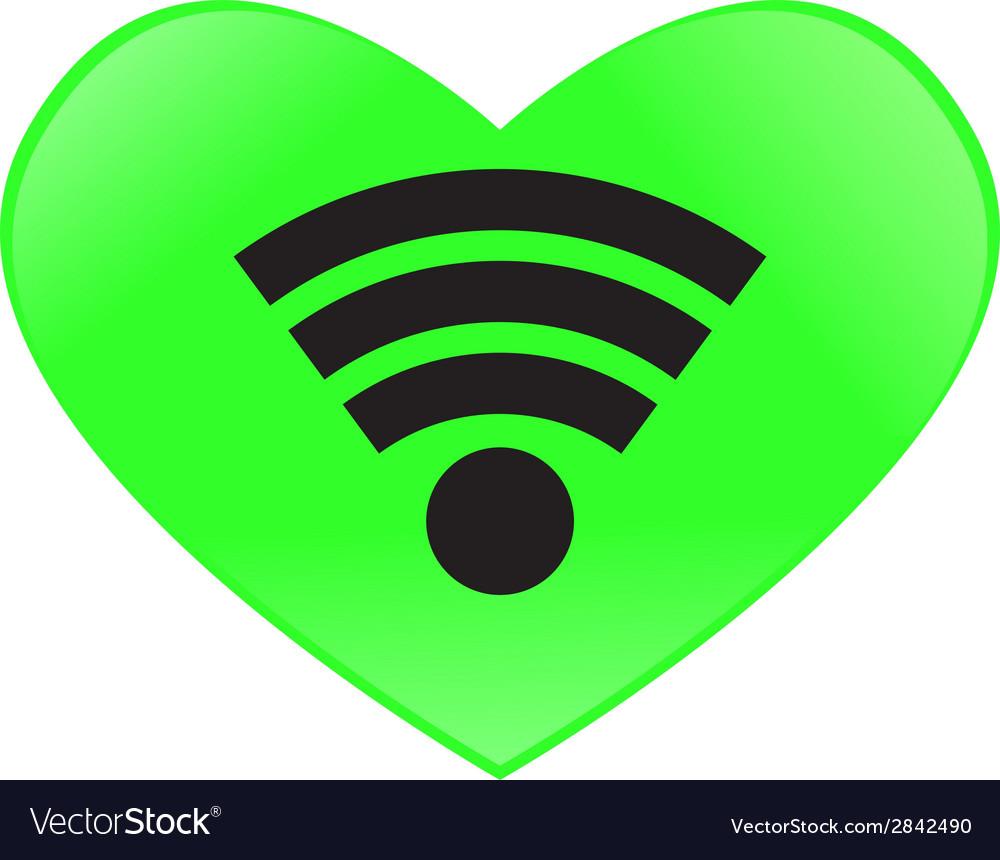 Heart send signal wifi vector
