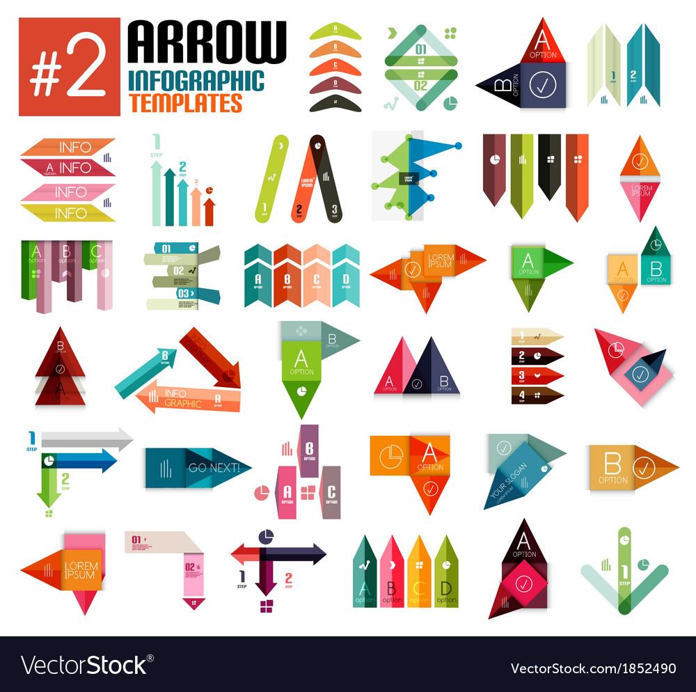Huge set of arrow infographic templates 2 vector