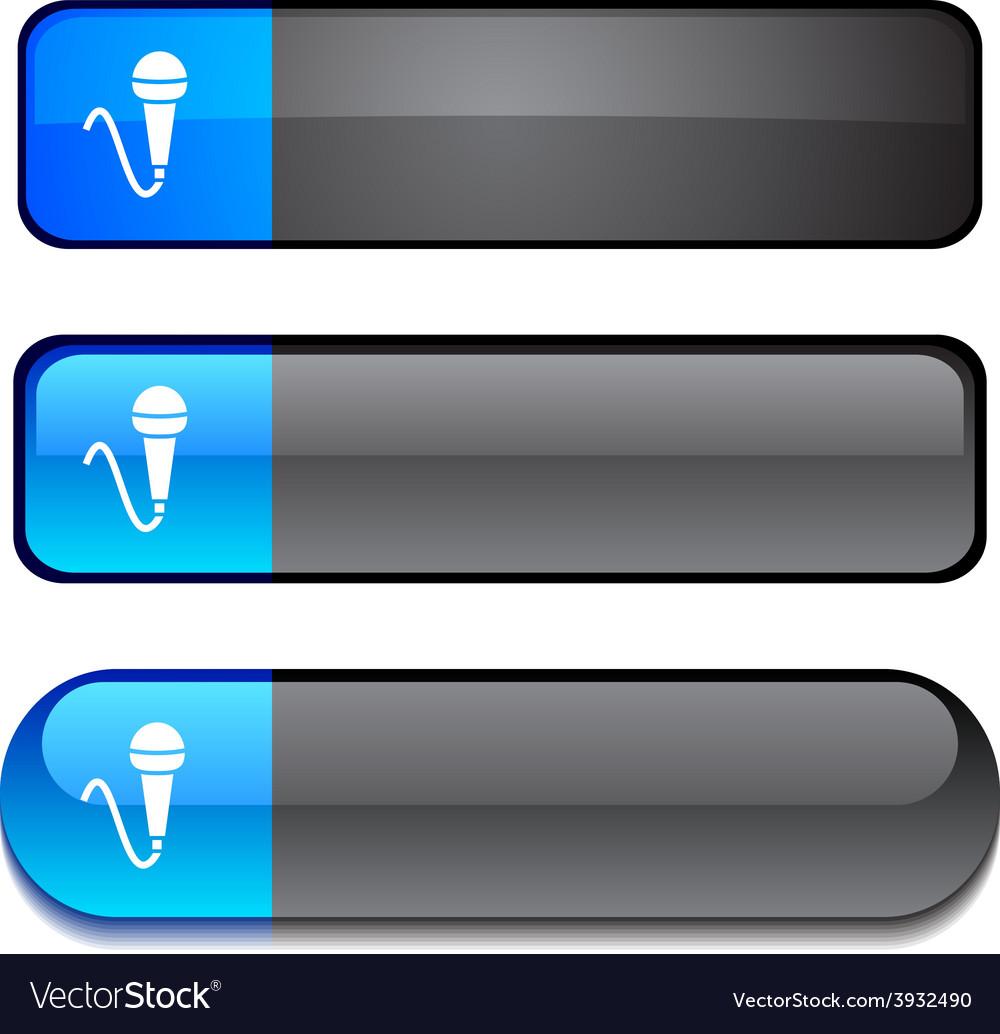 Mic button set vector
