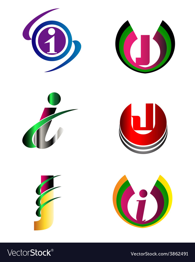 Letter j company logo icon template set vector
