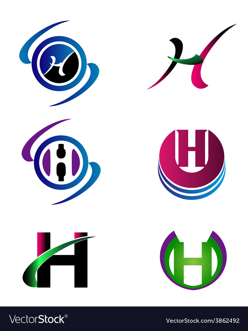 Letter h company logo icon template set vector