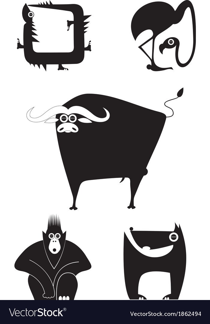 Animal silhouettes collection vector