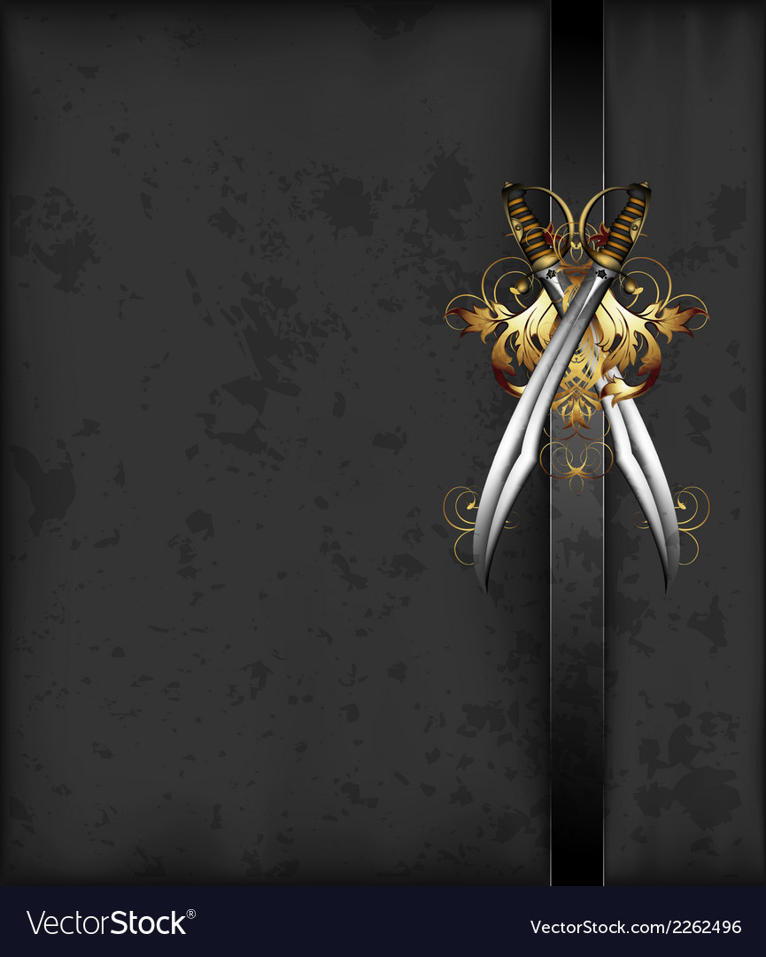 Ornate frame with sabers vector