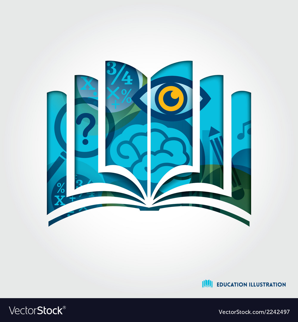 Open book symbol education concept vector