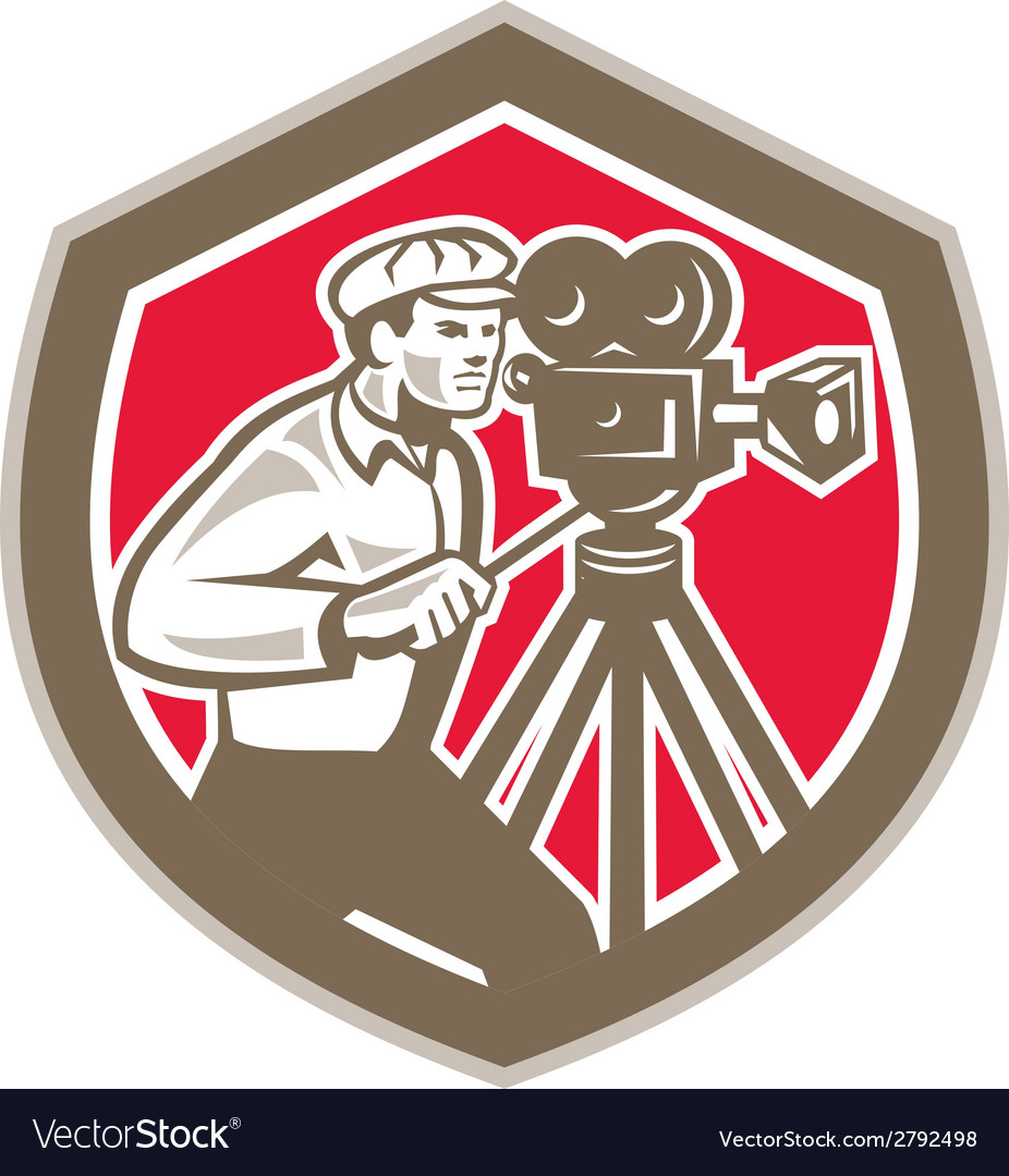 Cameraman vintage film camera shield retro vector