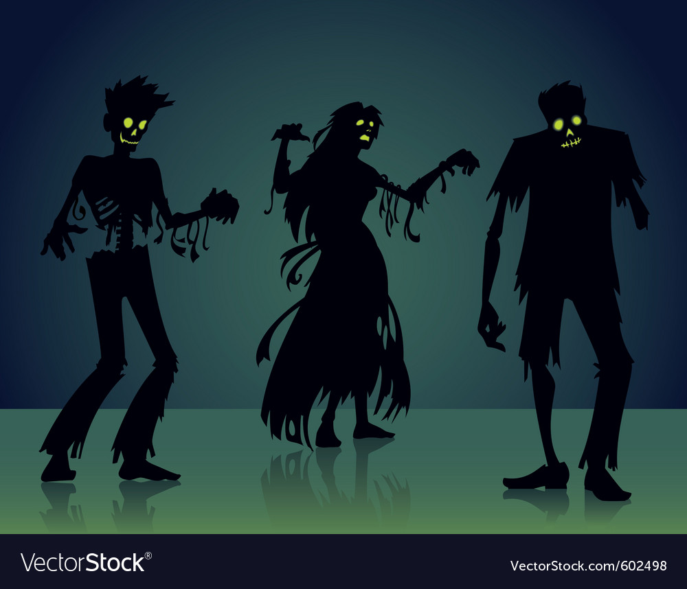 Zombie silhouettes vector