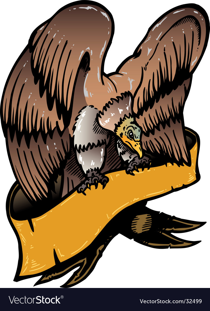 American eagle with banner illustratio vector