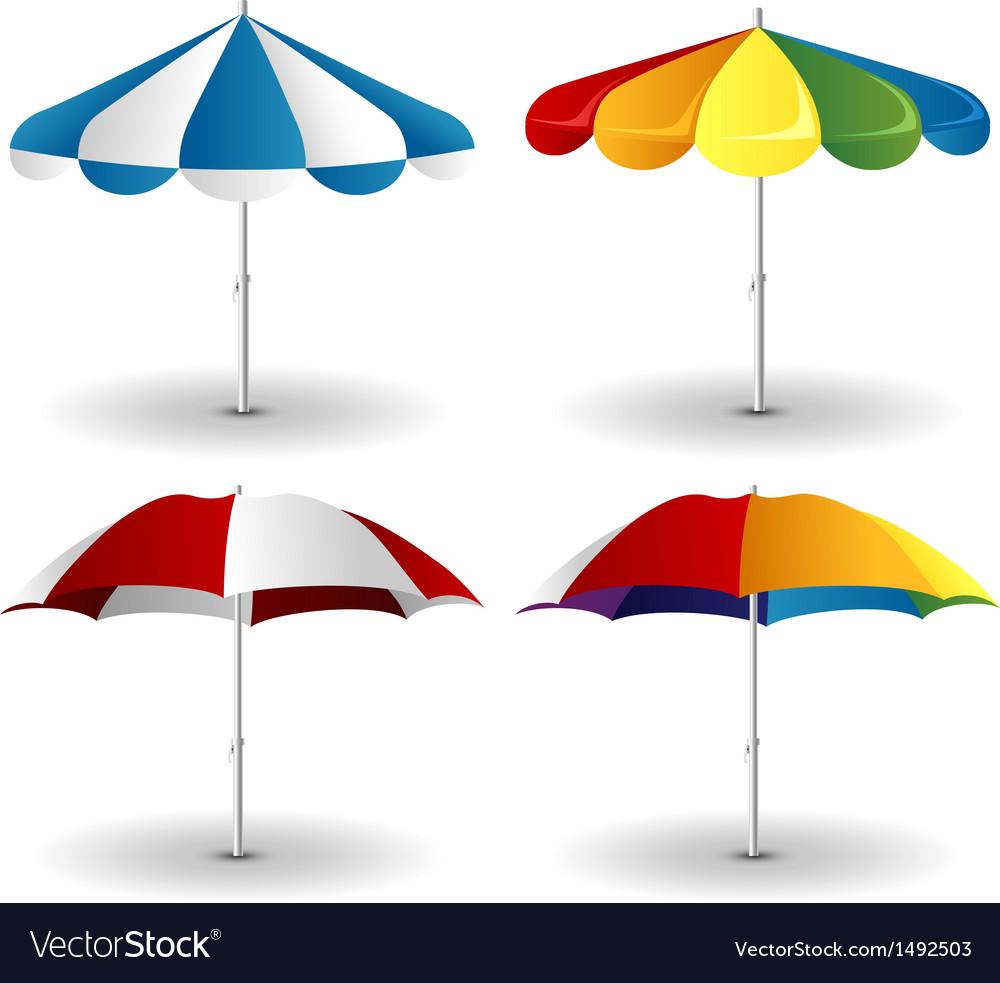 Beach umbrella set vector