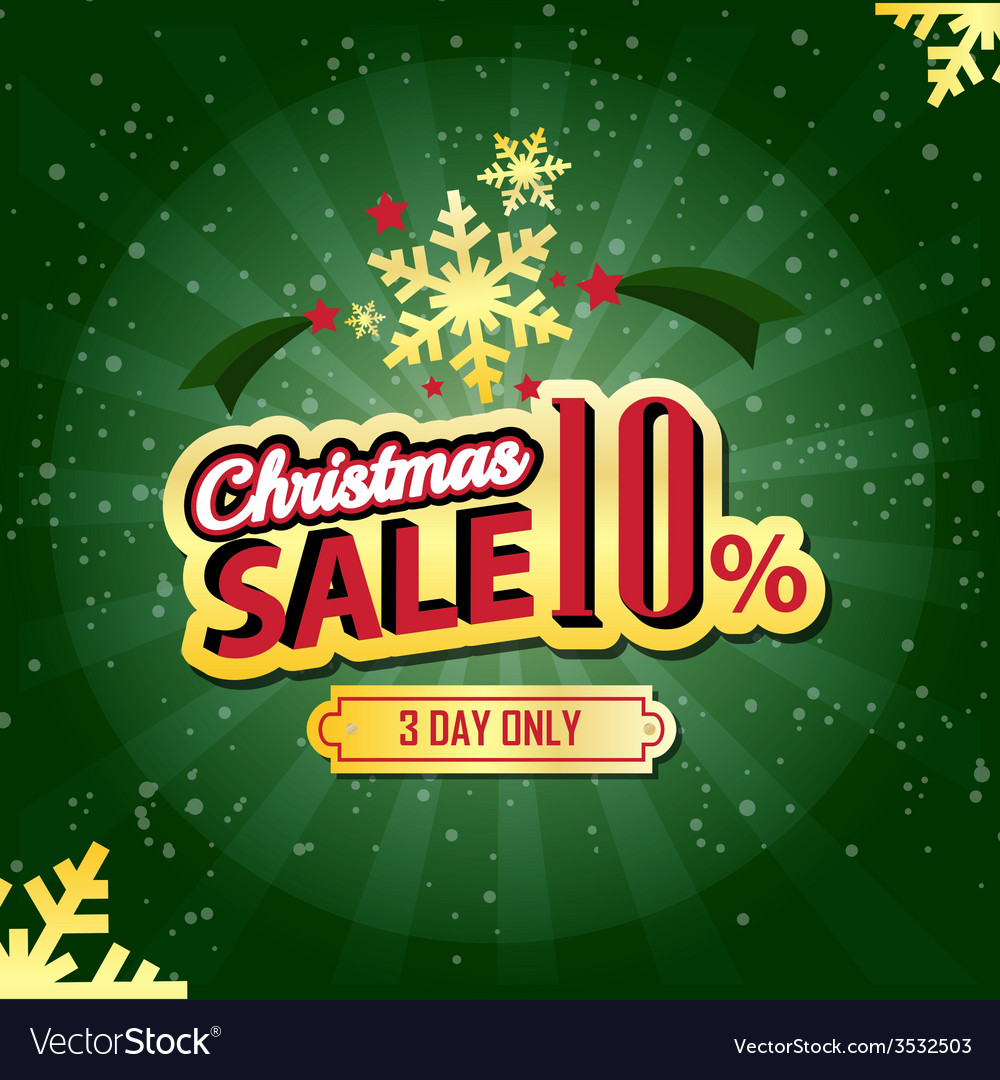 Christmas sale 10 percent typographic background vector