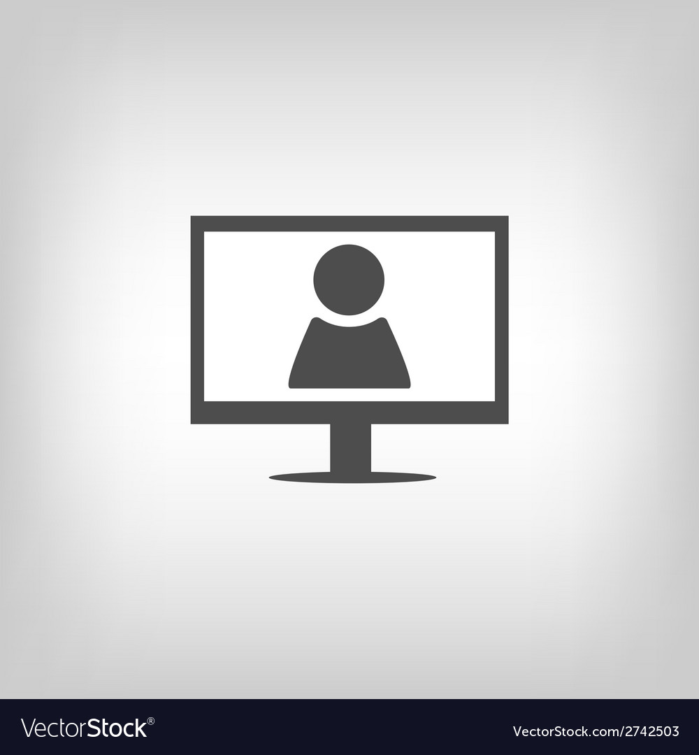 Computer with person sign vector