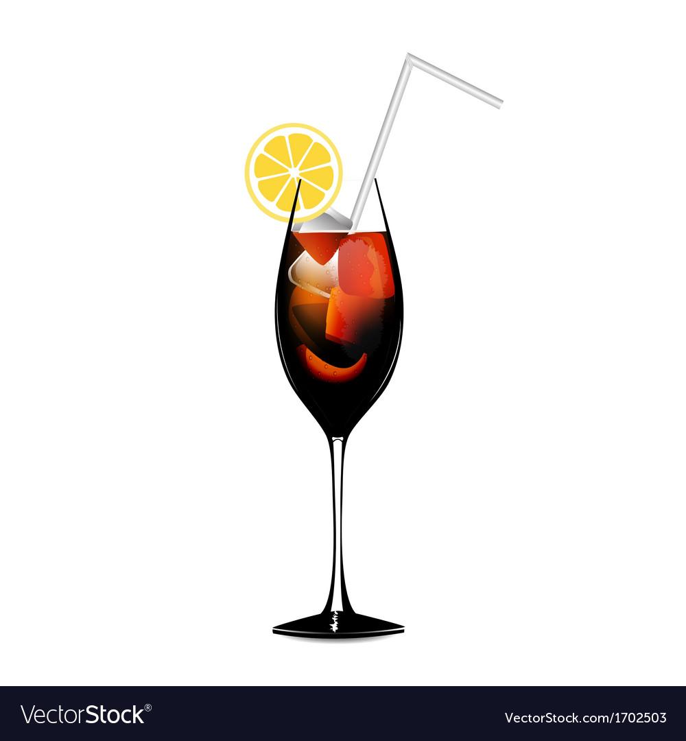 Cuba libra lemon alcohol cocktail vector