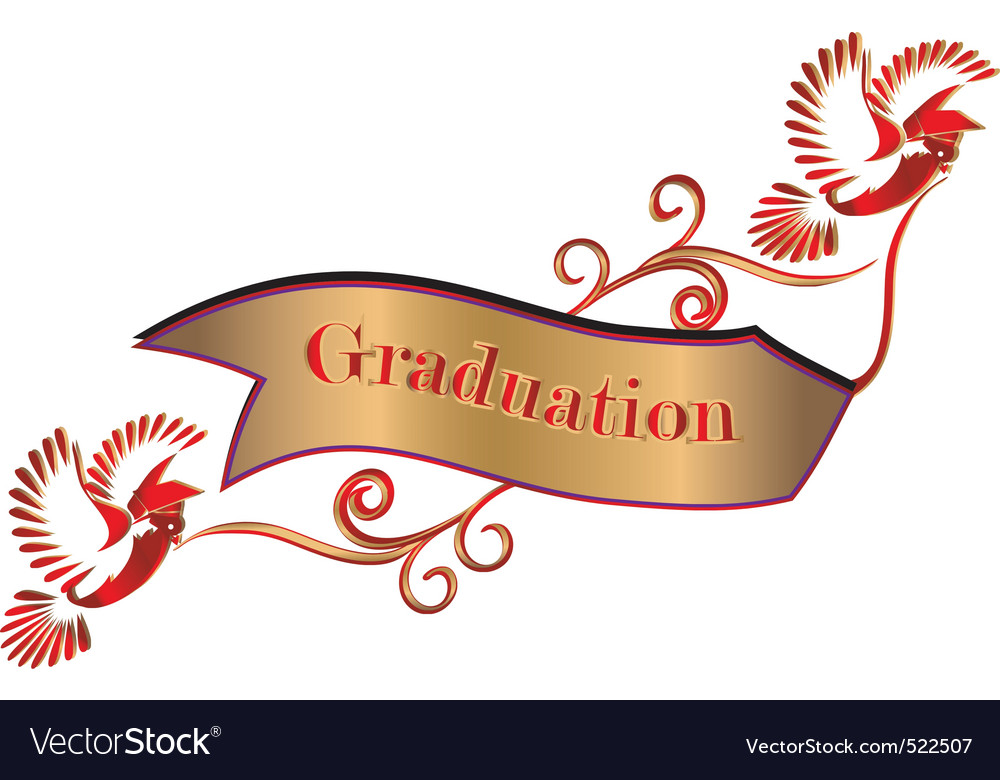 Graduation banner with doves and mortars vector