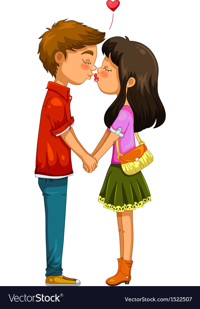 Young couple kissing vector