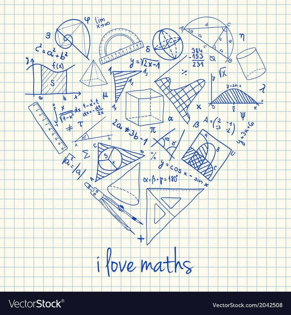 I love math doodles in heart vector