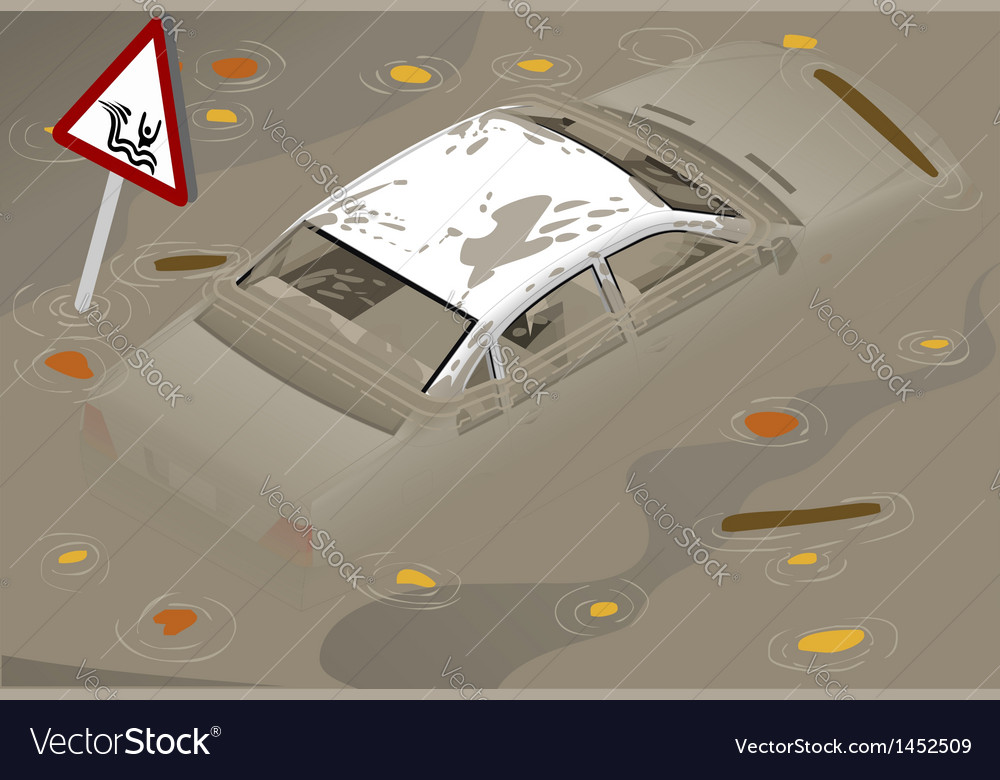 Isometric white car flooden in two positions vector