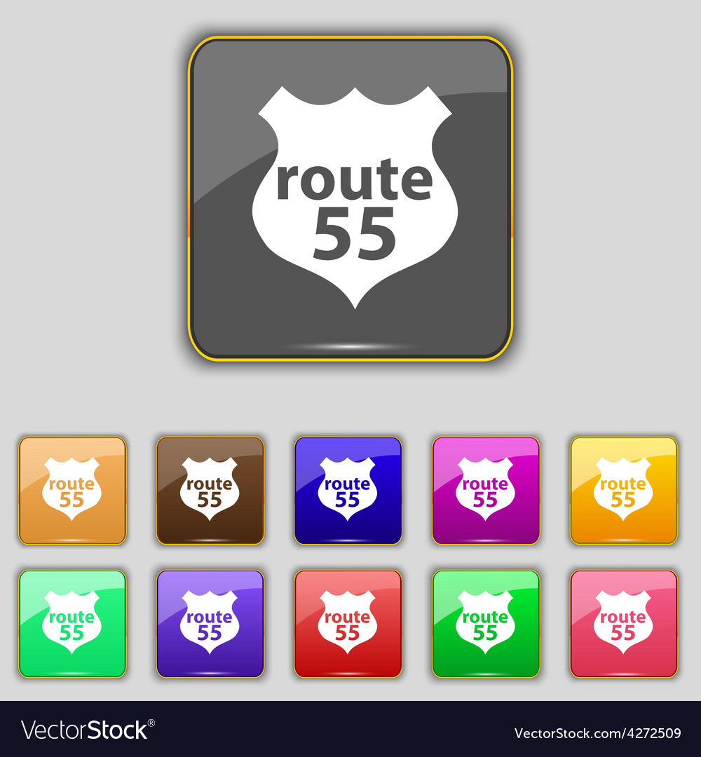 Route 55 highway icon sign set with eleven colored vector