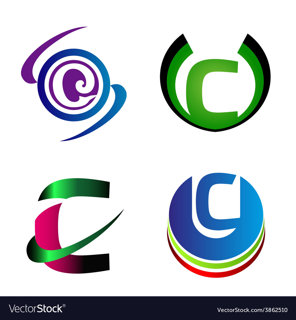 Letter c logo company letter c icon set vector