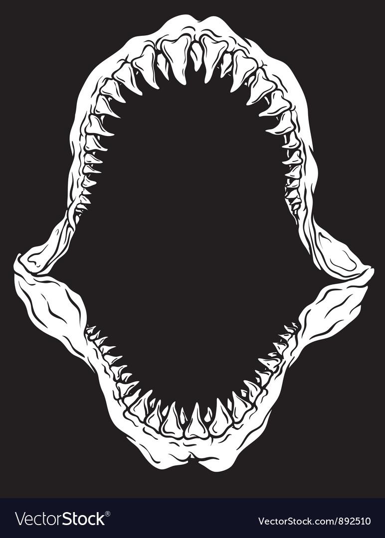 Shark jaw isolated vector