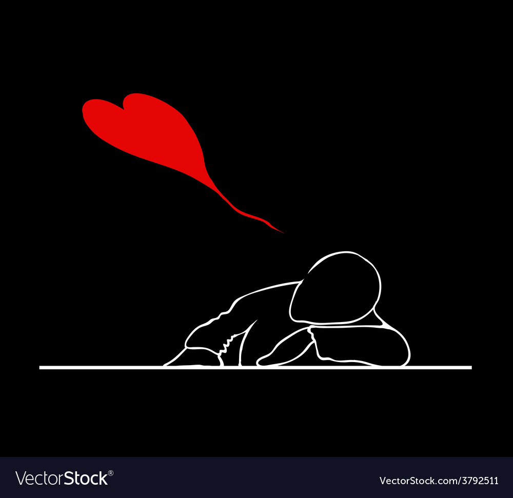 A man sleeping on the desk with lovely red hearts vector