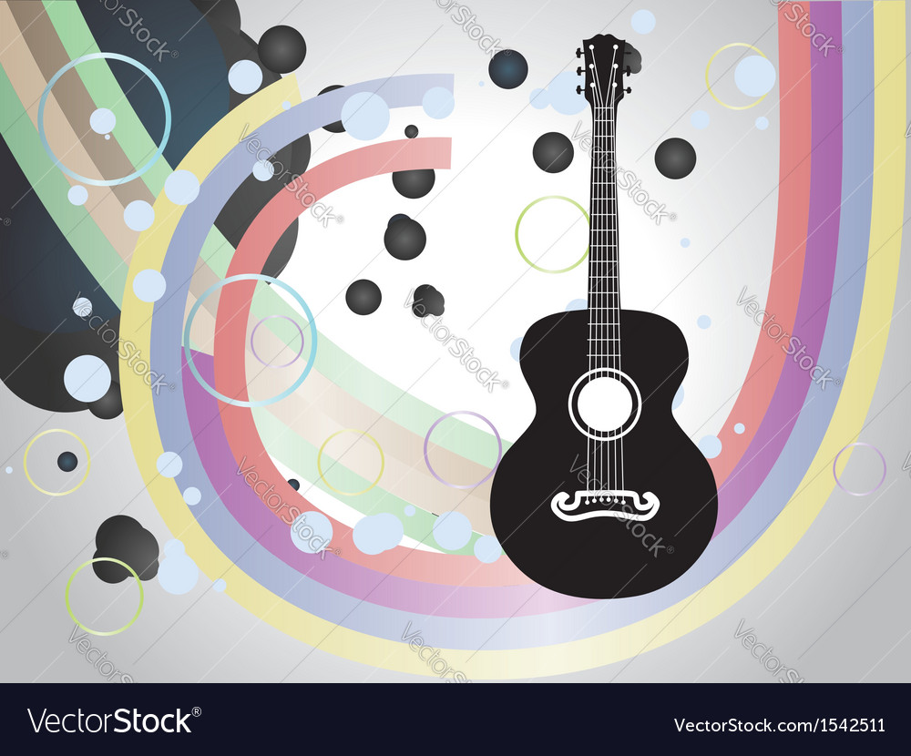 Background with acoustic guitar vector