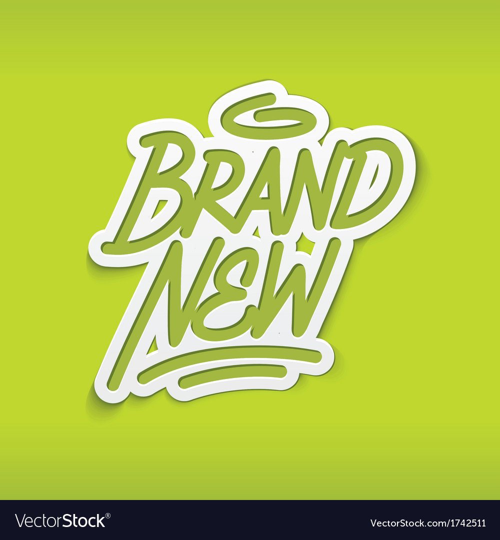 Brand new calligraphy label lettering vector