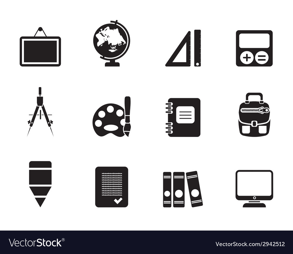 Silhouette school and education icons vector