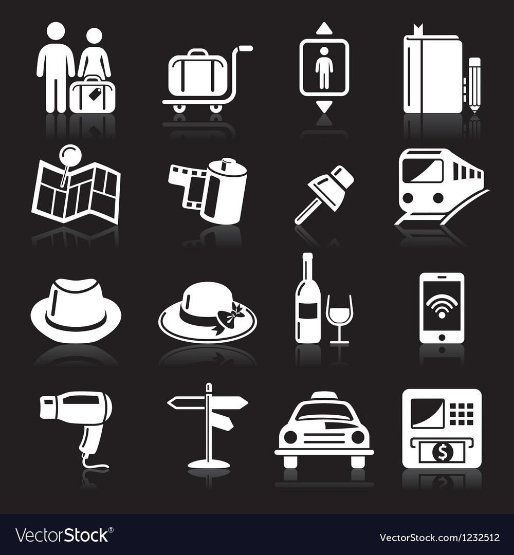 Travel white icons set vector