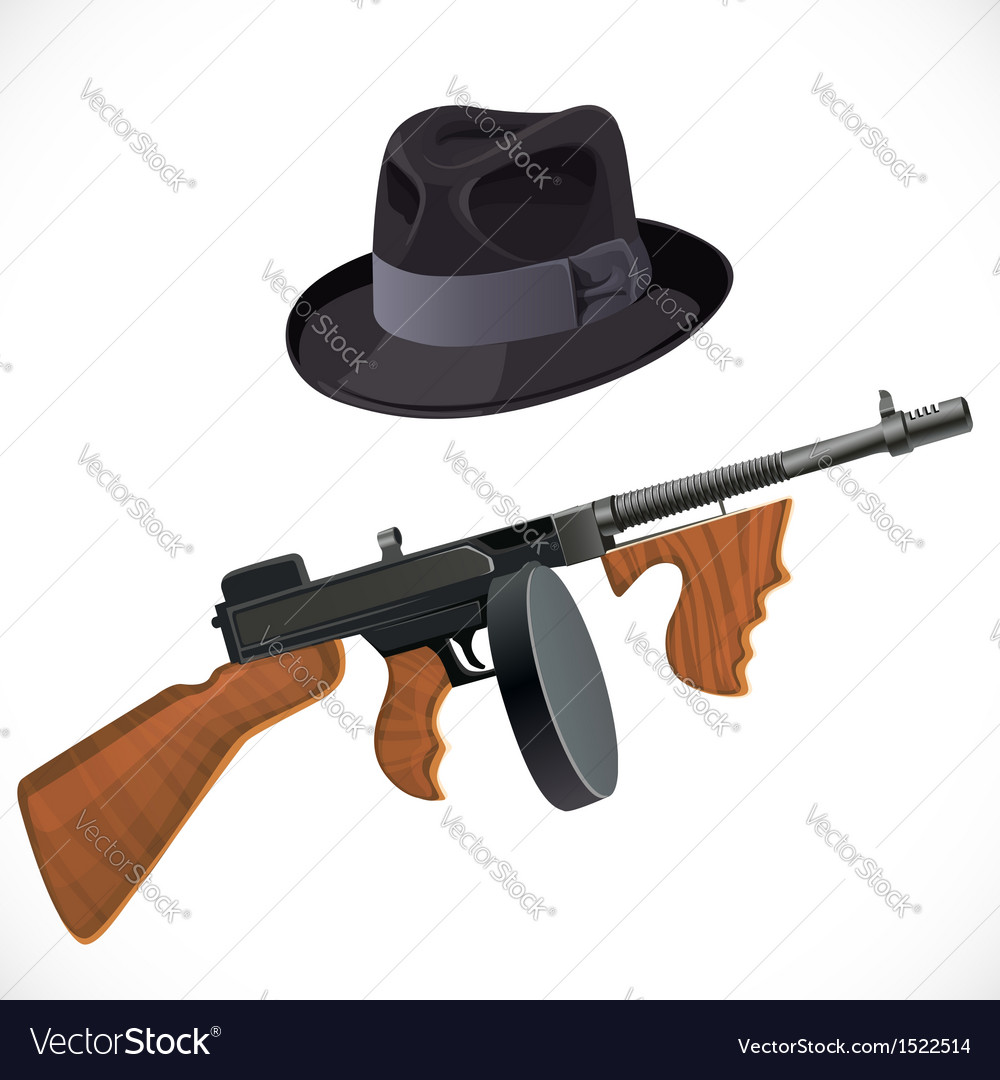 Fedora hat and a thompson gun for a retro party vector