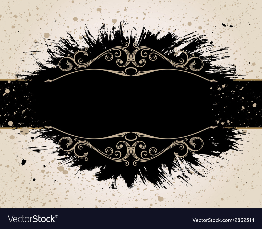 Grunge background for text decor with ornament and vector
