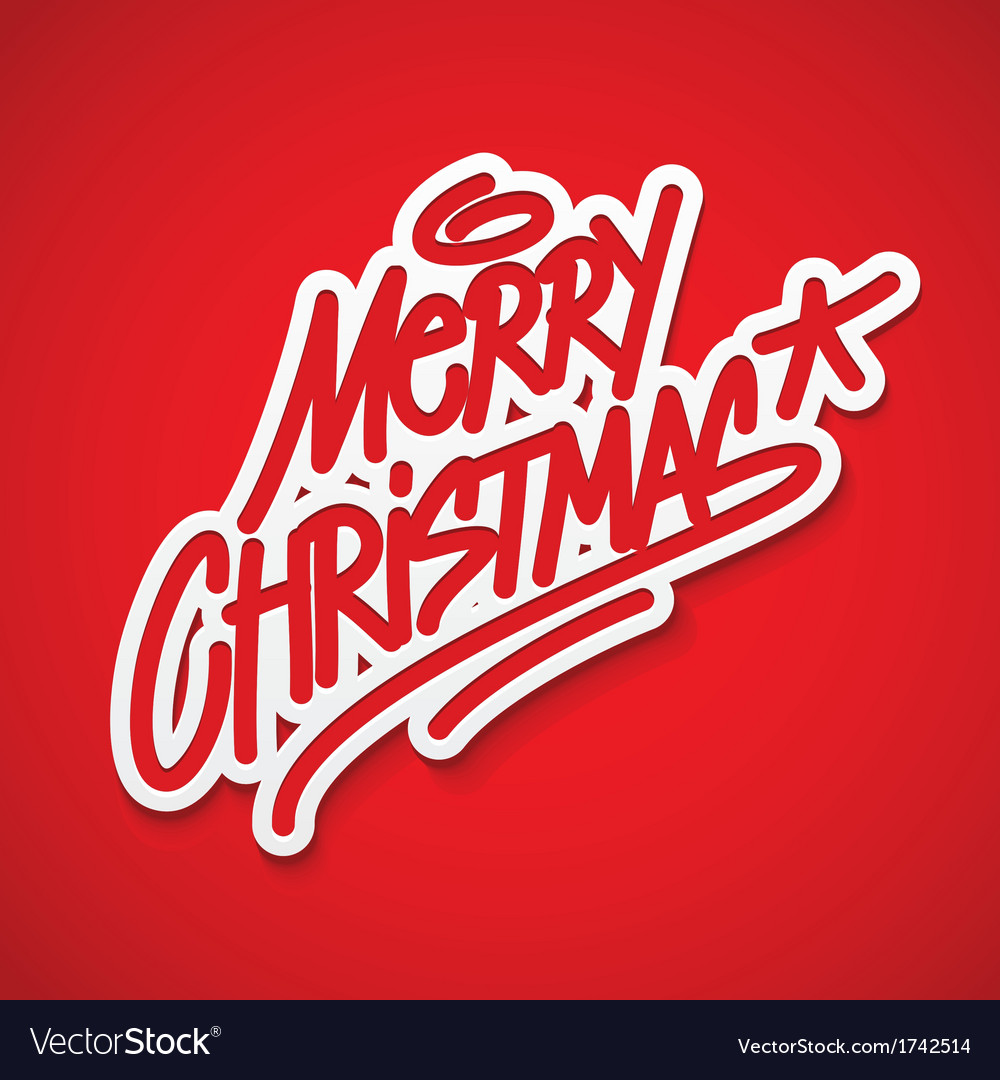Merry christmas label lettering card vector