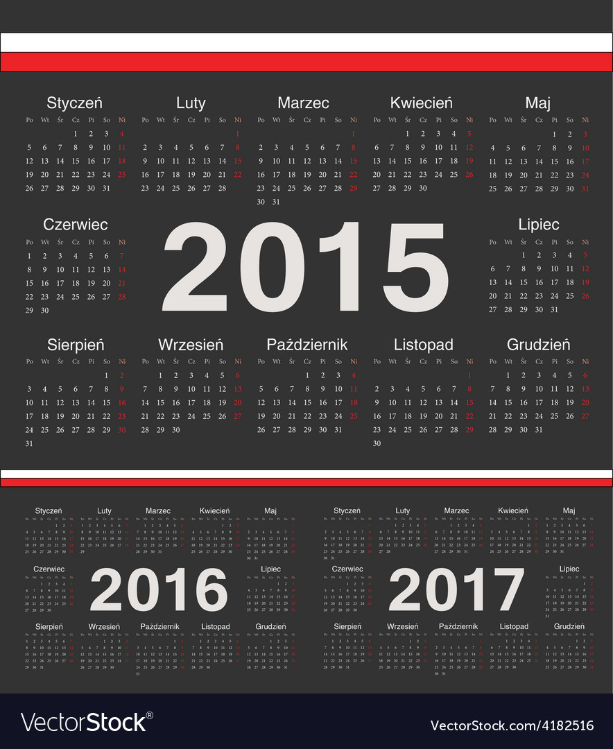 Black polish circle calendars 2015 2016 2017 vector