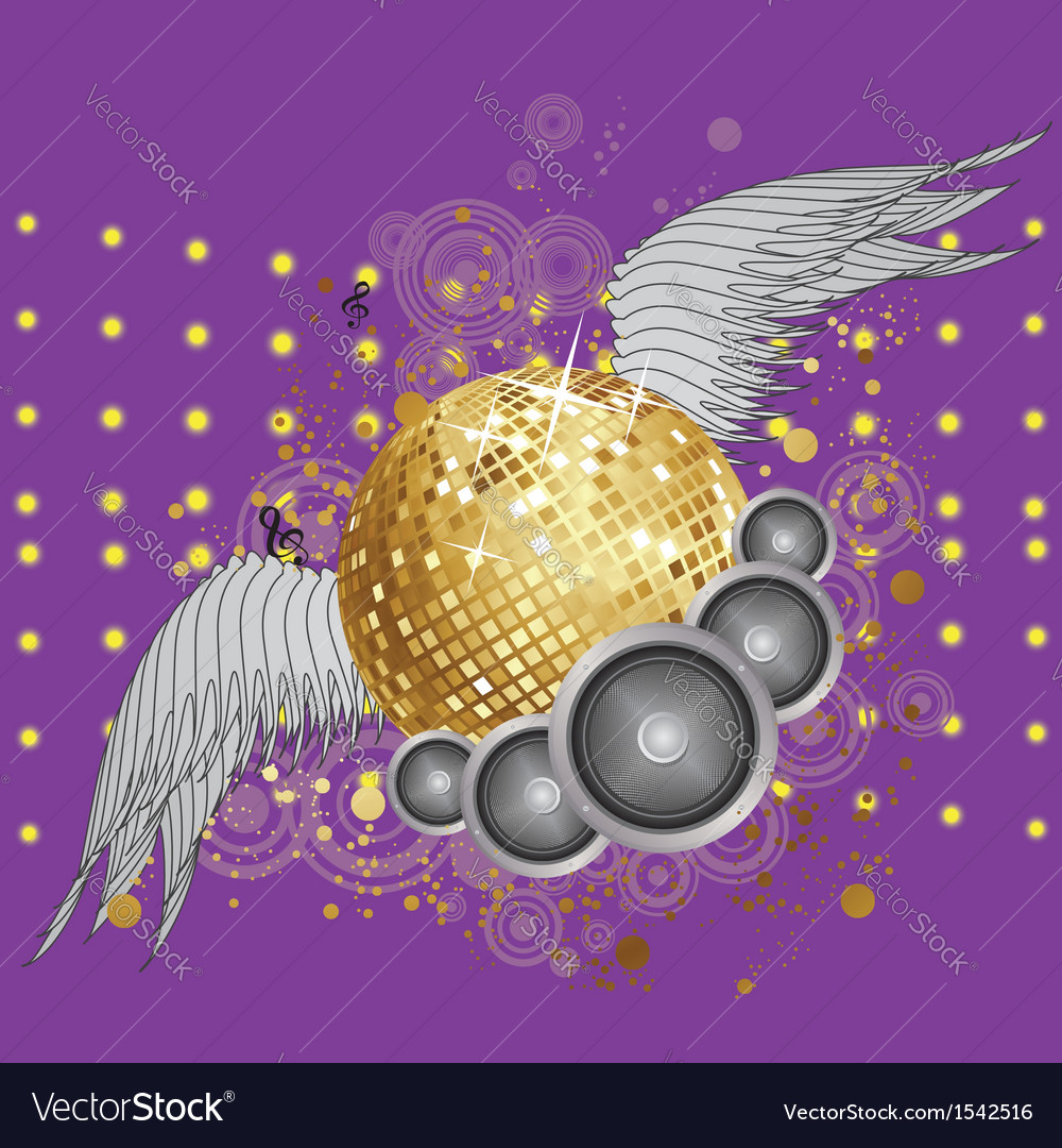Gold disco ball with wings vector