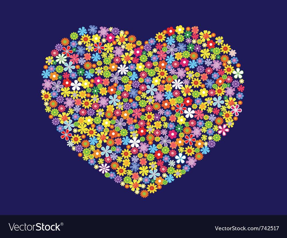 Contour heart of flowers vector