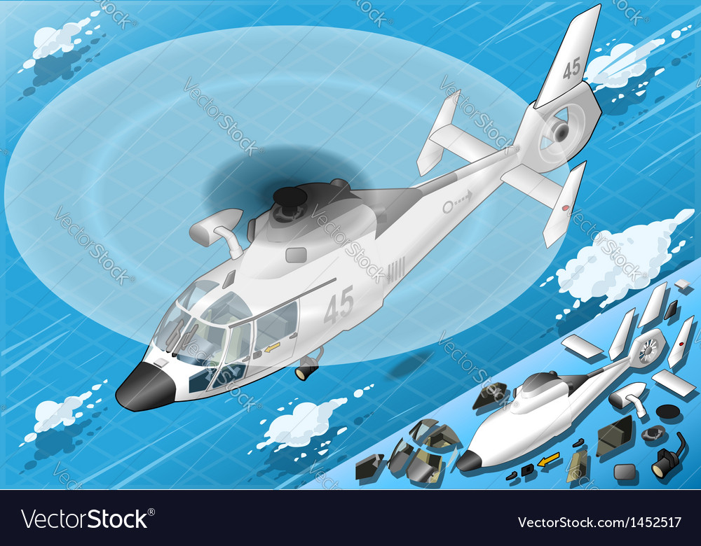 Isometric white helicopter in flight in front view vector
